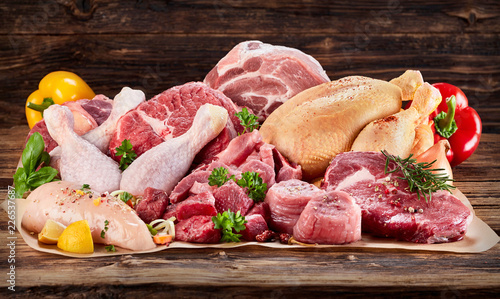 Raw meat assortment on cooking paper - 226537687