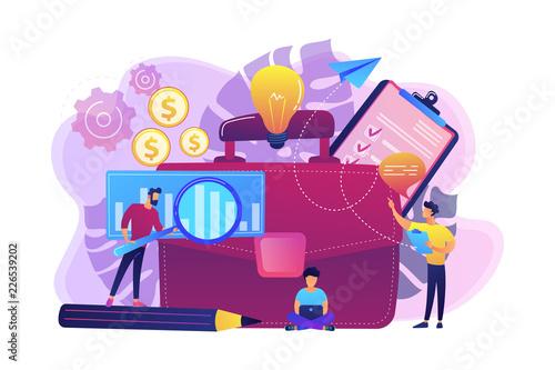 Fridge magnet Business plan concept vector illustration.