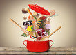 Leinwandbild Motiv Big red pot for soup with vegetables