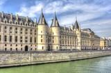 Conciergerie palace along Seine river in Paris, France