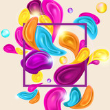 Card Template with Multicolor Abstract Shapes - 226559226