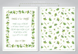 Cards templates for wedding invitations. Illustration of colored pencils, green leaves of ginkgo biloba. - 226564021