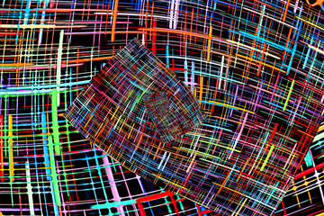 Abstract multicolored checkered fractals pattern. Comic background.