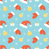 Cute seamless pattern vector background with santa hats, warm mittens, christmas balls, snowflakes and gifts for winter holidays design. - 226564820