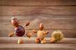 Leinwanddruck Bild - autumn tinker figures on wooden background