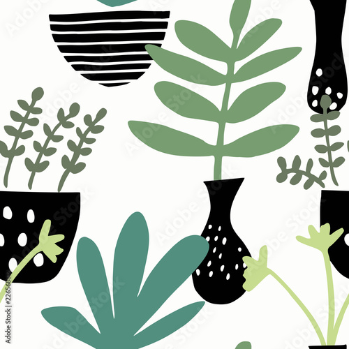 Seamless pattern with potted plants in green and black on white background. - 226568812