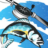 Fishing rod and fish on the waves - 226570877