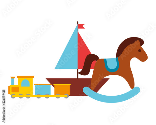 rocking horse train and boat toy