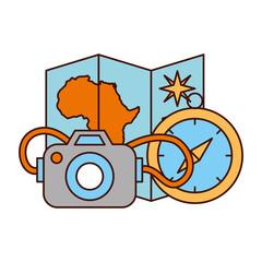 map compass camera safari equipment supplies