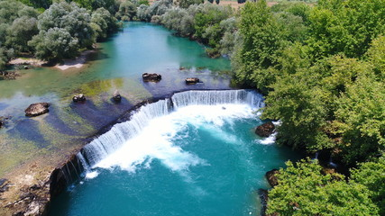 Aerial photo of Manavgat Waterfall in Antalya Turkey
