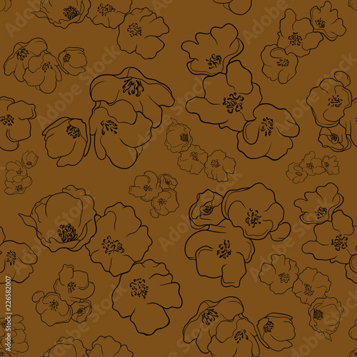 Flowers pattern Yellow background - 226582007