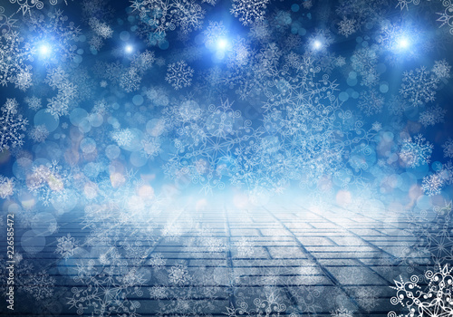 Christmas background with fir branches, lights, snowflakes, bokeh. - 226585472