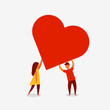 Man and woman holding big red heart. Valenine day. Love and relationship. Vector illustration - 226585680