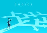 The concept of choosing the way of business and a businessman showing the direction. Problem solving, way to success. Vector illustration. - 226585857