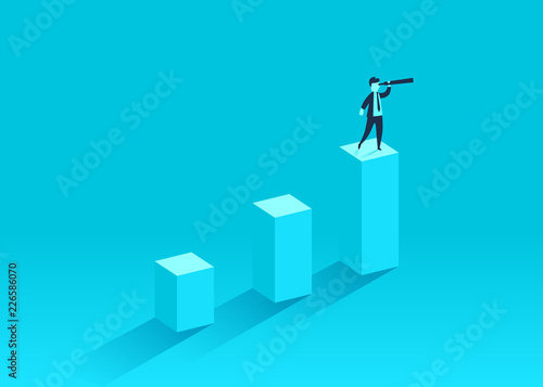 A businessman standing on a financial chart looks ahead in a telescope. Leader, winner and concept of success. Vector illustration