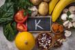 Leinwandbild Motiv Products containing potassium. Healthy food concept