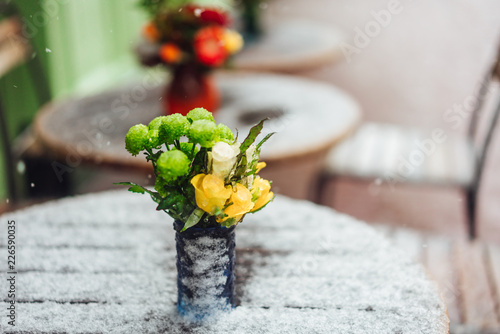 Foto Murales Flowers stand on a snowy table