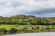 Leinwanddruck Bild - Egilsstadir, Iceland Cottages or cabins by Fellabaer city and river on ring road with traditional hut architecture, blue roofs for camping