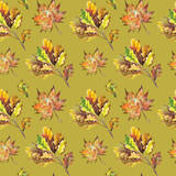 Seamless pattern with oak and maple leaves.  Watercolor on green background.