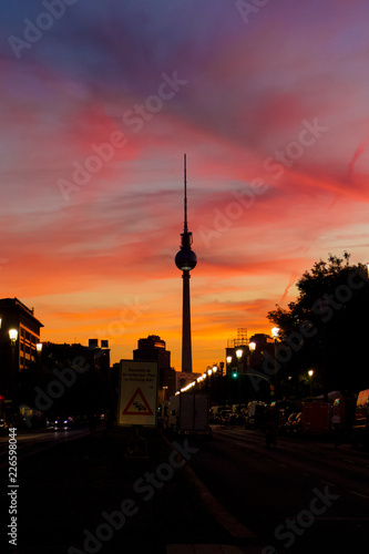 Colourful Sunset Scene of Famous Berlin TV Tower (Fernsehturm) © SBphotos