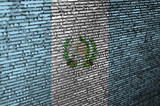 Guatemala flag  is depicted on the screen with the program code. The concept of modern technology and site development