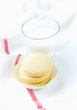 Shortbread with a glass of milk. White background. Close up. Copy space.   - 226605896