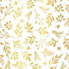 Gold foil florals seamless vector background. Golden abstract wildflower grass shapes on white background. Elegant holiday pattern for scrap booking, banner, packaging, wedding, party, invite, blog
