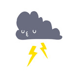 flat color style cartoon storm cloud - 226618073