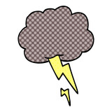 cartoon doodle storm cloud with lightning - 226632624