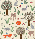 Forest Friends Seamless Repeat Pattern