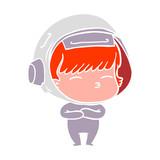 flat color style cartoon curious astronaut