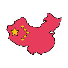map china with flag isolated icon