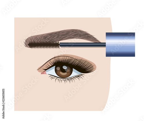 Correction and coloring eyebrows in the salon - 226658613