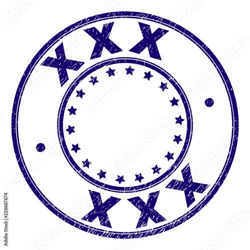 XXX stamp seal watermark with grunge texture. Designed with circles and stars. Blue vector rubber print of XXX text with grunge texture.