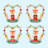 Vector cartoon illustration with cute fox girl on flower frames suitable for gift tag set design, thanks tag, and sticker set