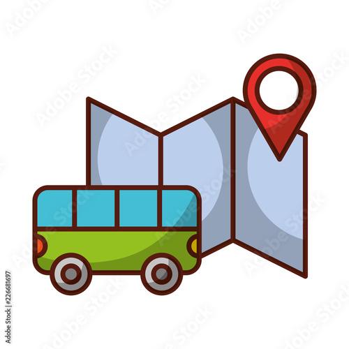 Fototapeta bus transport location map travel vacations