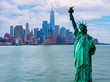 Manhattah skyline and Statue of Liberty with One World Trade Center background, Landmarks of New York City, USA