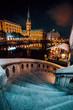 Leinwanddruck Bild - The Alsterfleet and the City hall in Hamburg at night. Beautiful illuminated downtown, city center