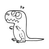 Fototapeta Dinusie - line drawing cartoon prehistoric dinosaur © lineartestpilot