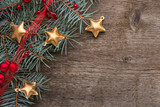 Fir branch with Christmas decorations  on old wooden  background with empty space for text. Top view. - 226695001