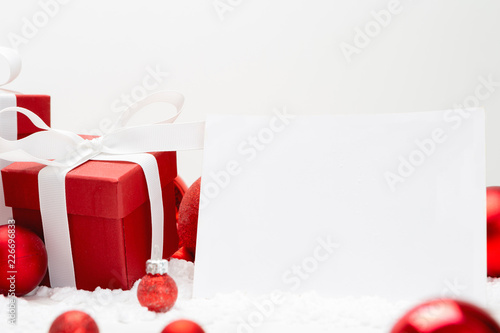 Foto Murales Blank christmas holidays greeting card on a white background