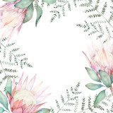 Watercolor floral frame for wedding cards, invitations, Easter, birthday. Spring botanical illustration. Protea and fern branch - 226697645