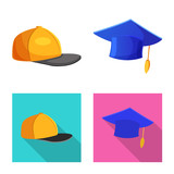 Isolated object of headgear and cap logo. Set of headgear and accessory stock symbol for web.