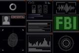 Computer software for the FBI. Display vector illustration. Investigation.
