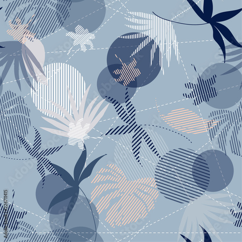 Fototapeta Seamless Hand Drawn tropical pastel silhouette exotic leaves Pattern on bright blue mixed with stripes