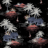 Beautiful seamless Dark night island pattern on black background. Landscape with palm trees,beach - 226712869
