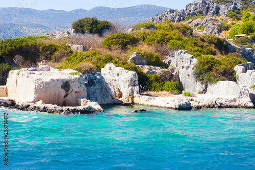 Fototapeten Strand The ruins of the ancient city on the island of Kekova. Turkey