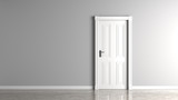Gray empty wall and closed white door mock up.3D illustration. - 226717027