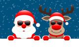 Santa & Rudolph Sunglasses Banner Snow Dark Blue