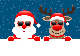 Santa & Rudolph Sunglasses Banner Snow Dark Blue